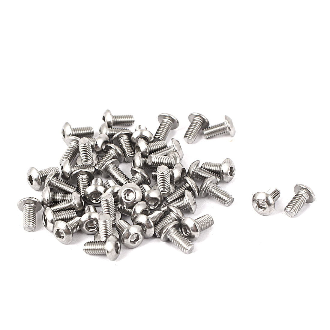 50 Pcs M3 x 6mm Silver Tone Stainless Steel Button Head Socket Cap Screw