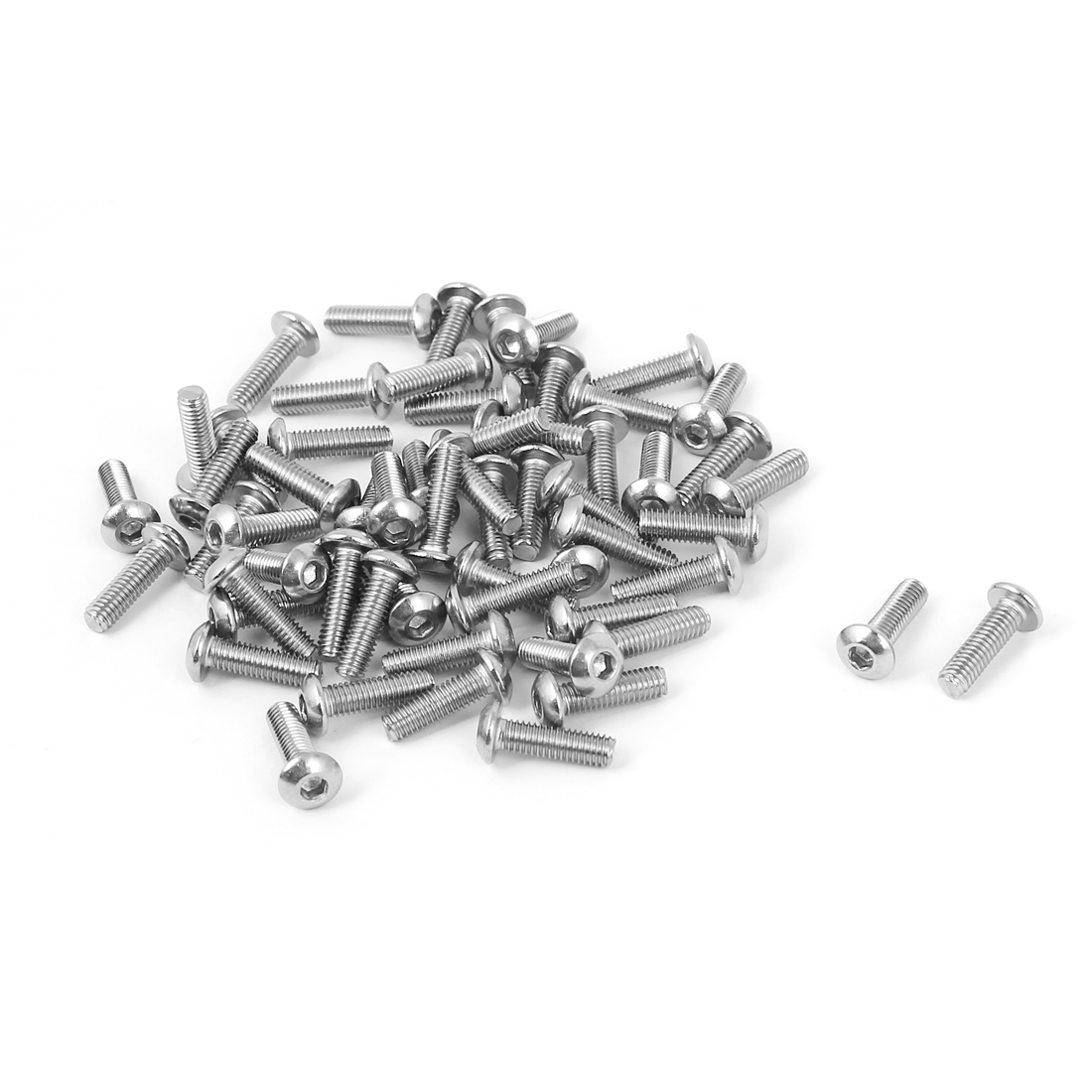 50 Pcs M3 x 10mm Silver Tone Stainless Steel Button Head Socket Cap Screw