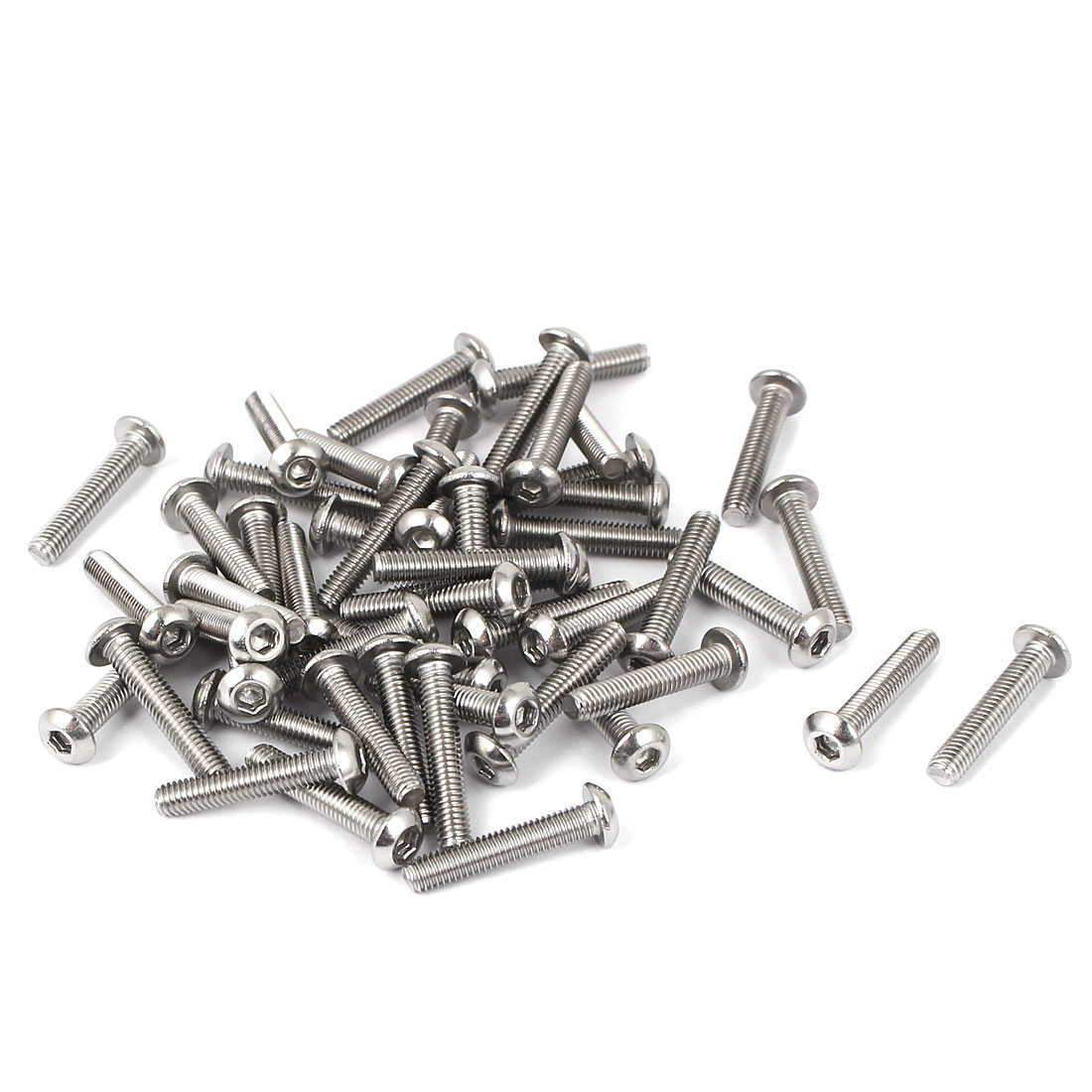 M3 x 16mm Full Thread Button Head Socket Cap Screw Silver Tone 50 Pcs