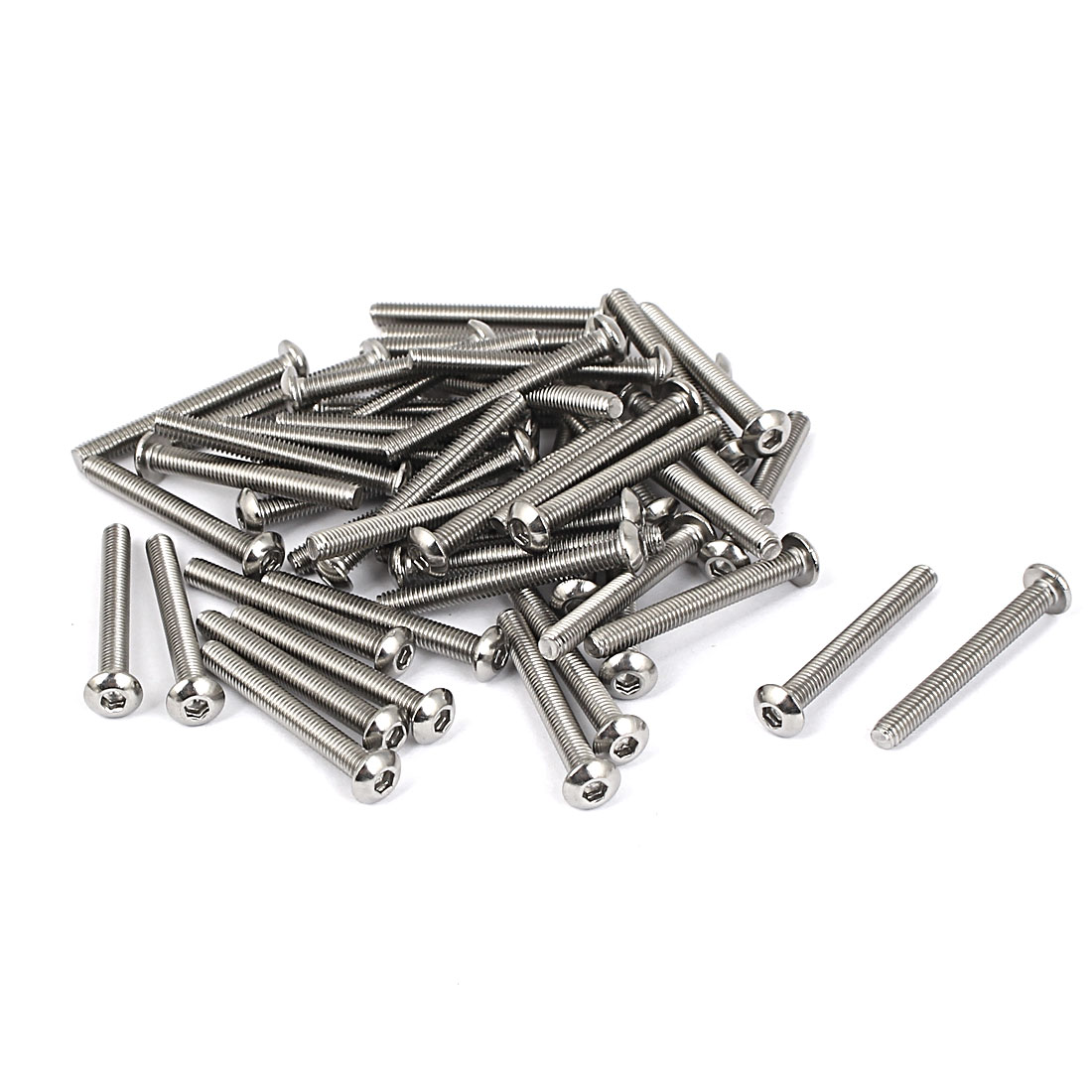M3 x 25mm Full Thread Button Head Socket Cap Screw Silver Tone 50 Pcs
