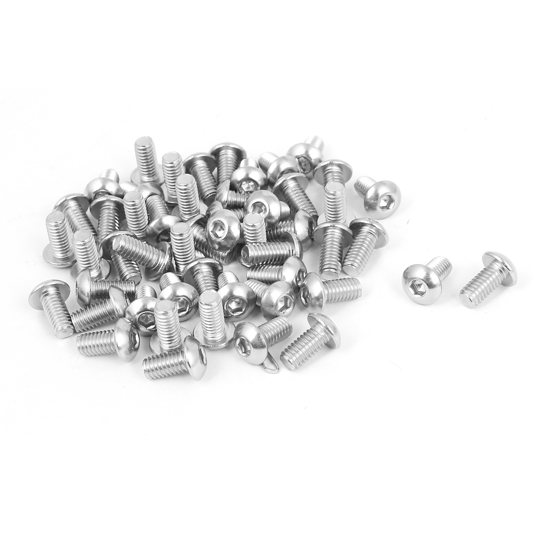 M4 x 8mm Full Thread Button Head Socket Cap Screw Silver Tone 50 Pcs