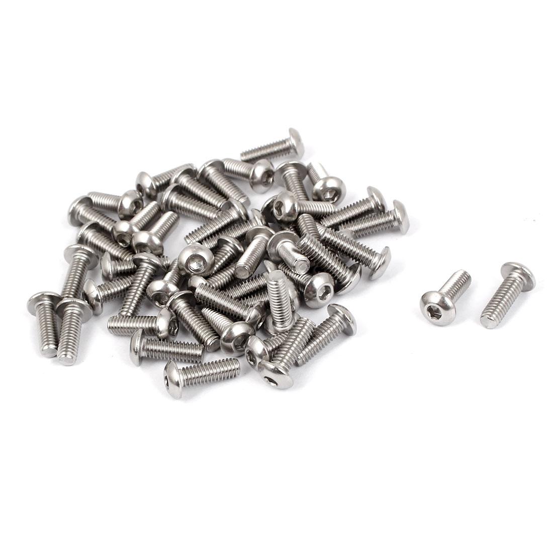 M4 x 12mm Full Thread Button Head Socket Cap Screw Silver Tone 50 Pcs