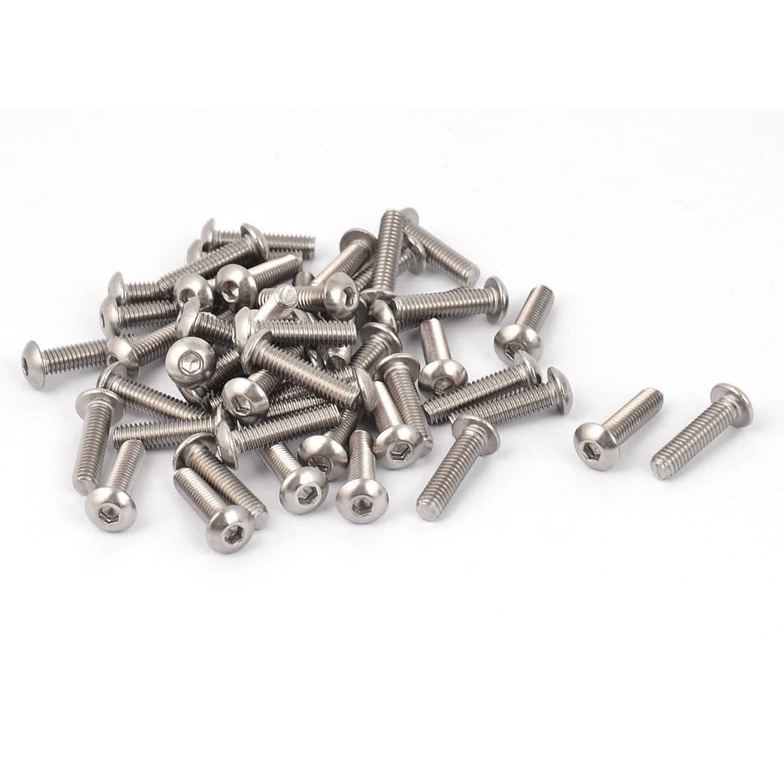M4 x 16mm Stainless Steel Button Head Socket Cap Screw Silver Tone 50 Pcs