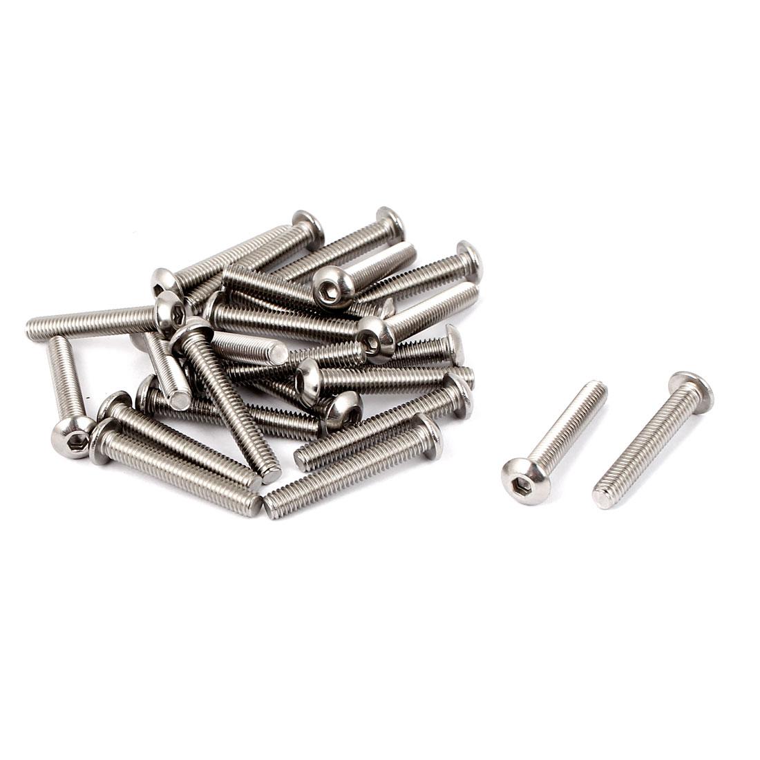 M4 x 25mm Full Thread Button Head Socket Cap Screw Silver Tone 25 Pcs