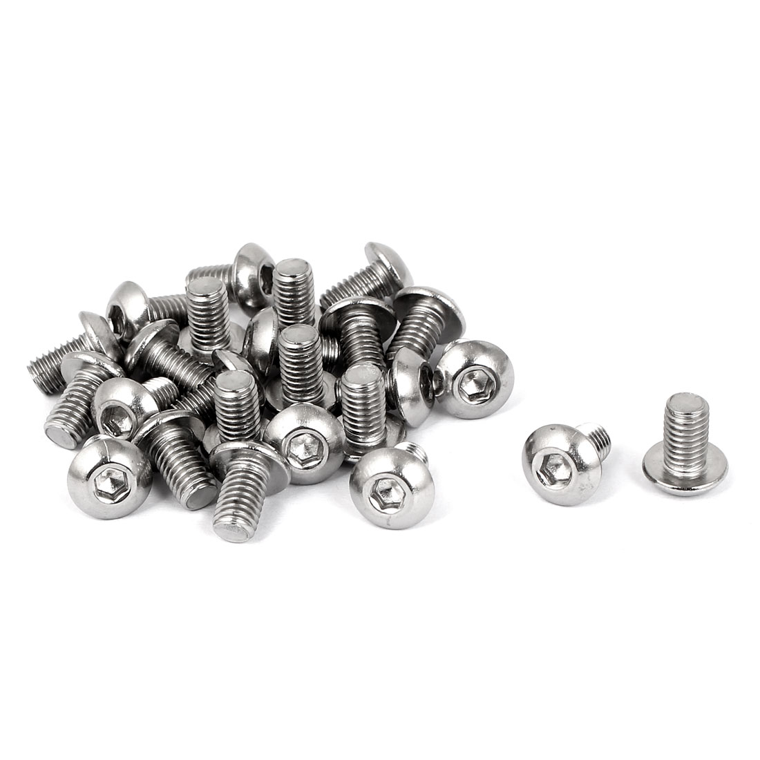 M5 x 8mm Full Thread Button Head Socket Cap Screw Silver Tone 25 Pcs