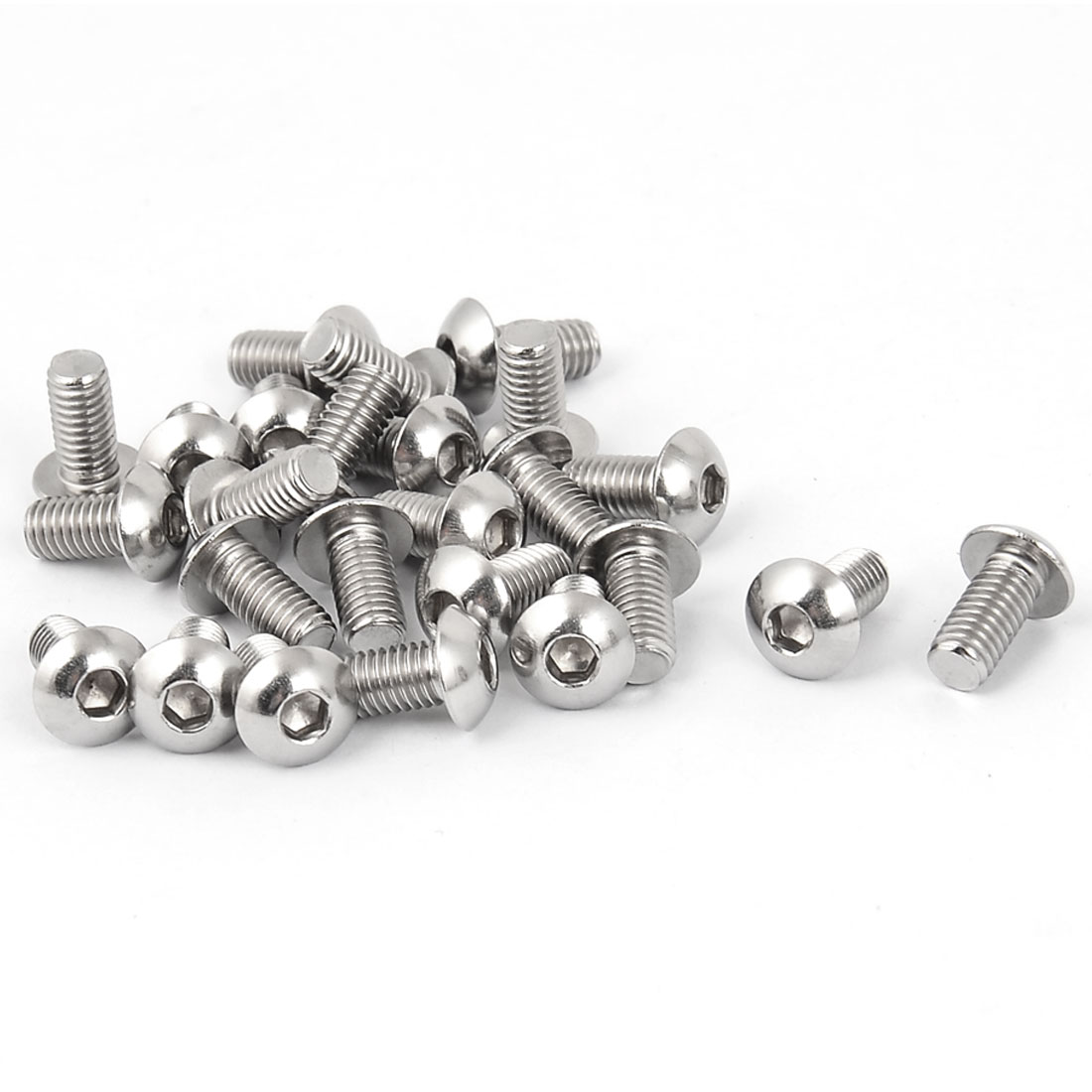 M5 x 10mm Stainless Steel Button Head Socket Cap Screw Silver Tone 25 Pcs