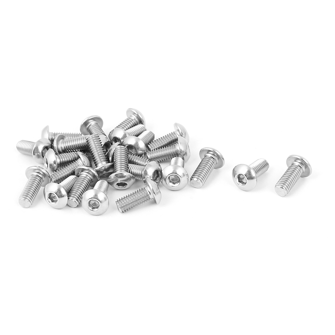 Full Thread Stainless Steel Button Head Socket Cap Screw Silver Tone M5 x 12mm 25 Pcs