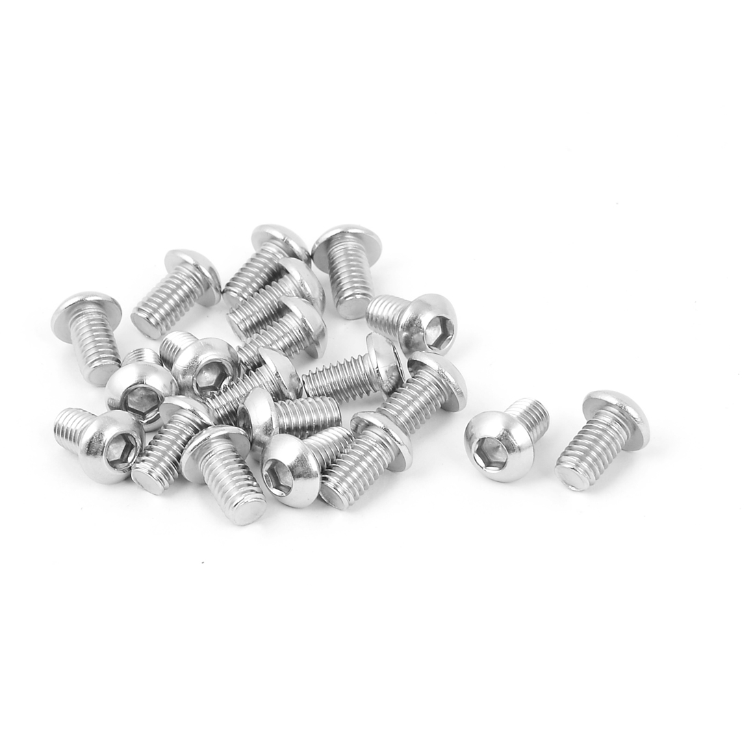 M6 x 10mm Full Thread Button Head Socket Cap Screw Silver Tone 20 Pcs
