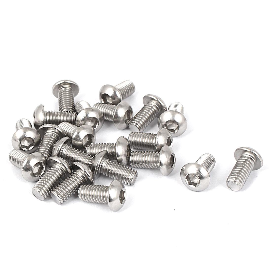 M6 x 12mm Full Thread Button Head Socket Cap Screw Silver Tone 20 Pcs
