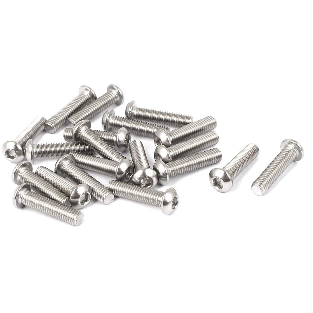 M6 x 25mm Full Thread Button Head Socket Cap Screw Silver Tone 20 Pcs