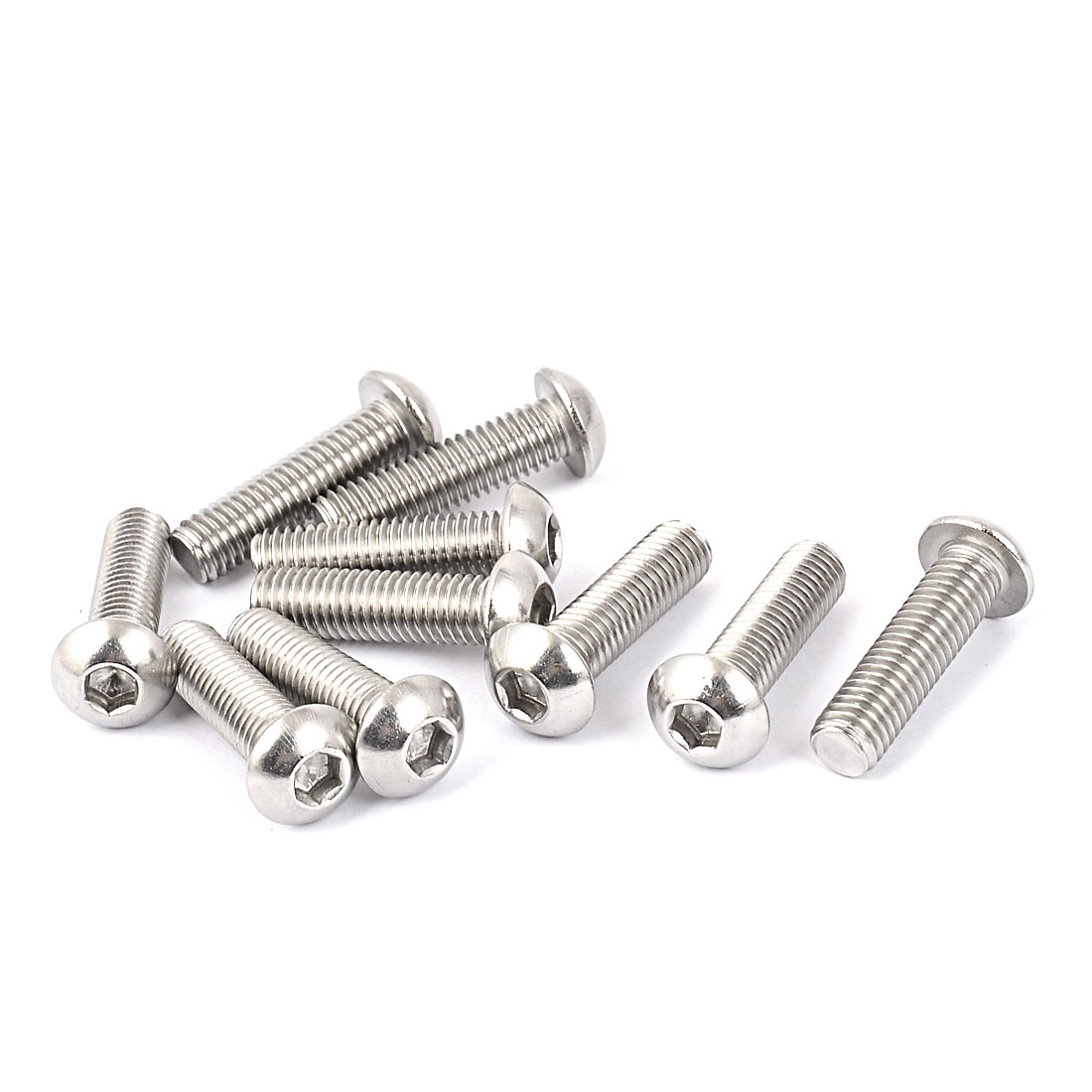 Full Thread Stainless Steel Button Head Socket Cap Screw Silver Tone M8 x 30mm 10 Pcs