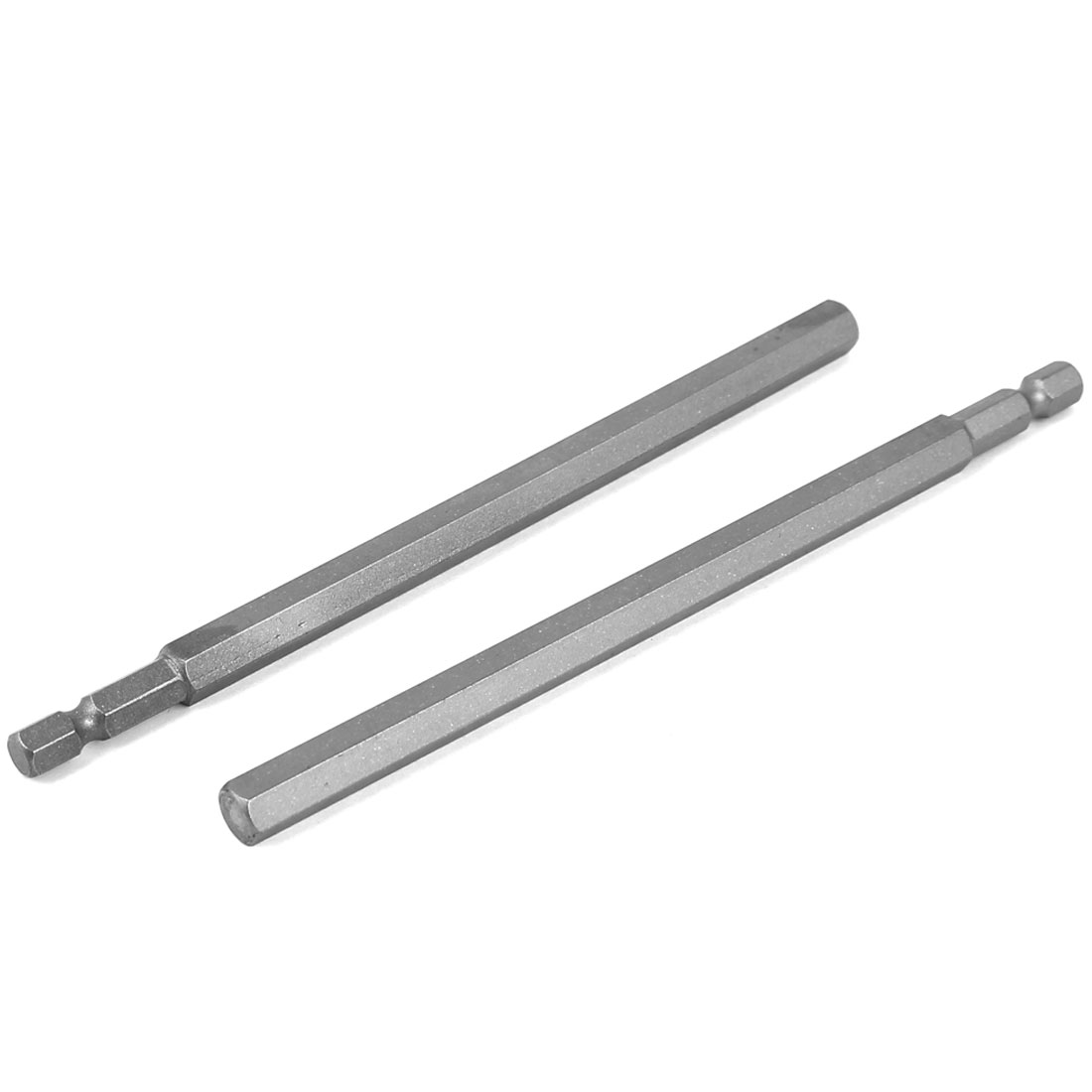 150mm Length 8mm Tip Hexagon Magnetic Screwdriver Insert Bits Gray 2 Pcs