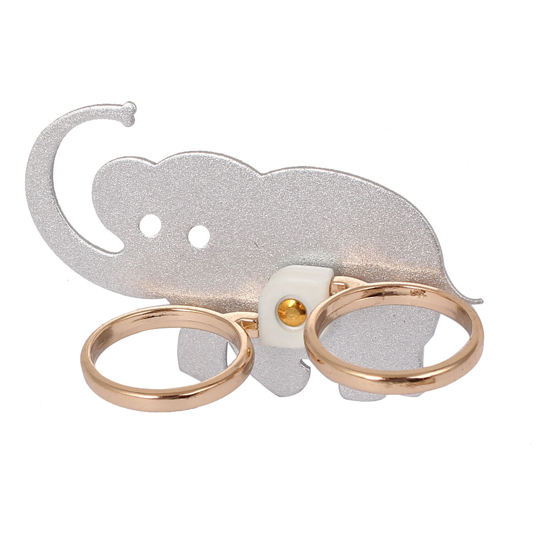 Mobile Phone Cellphone Elephant Pattern Adhesive Finger Ring Grip Stand Mount Silver Tone