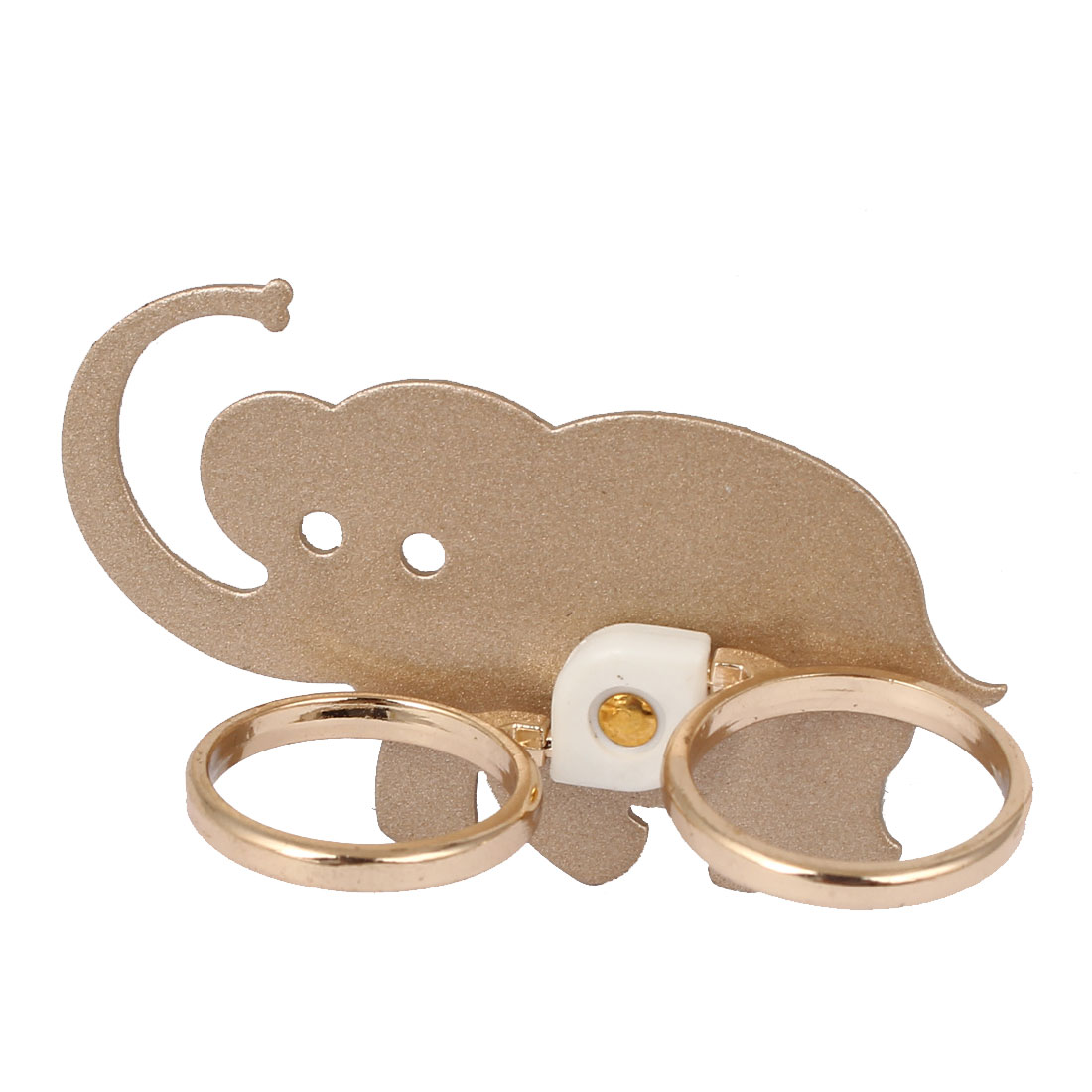 Mobile Phone Cellphone Elephant Pattern Adhesive Finger Ring Grip Stand Mount Champagne Color
