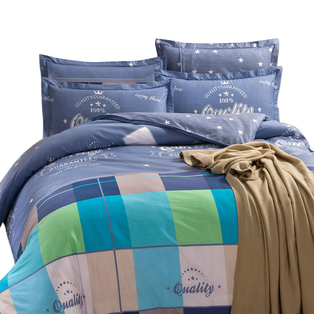 Bedroom Grid Pattern Duvet Quilt Cover Pillowcase Bedding Set King Size