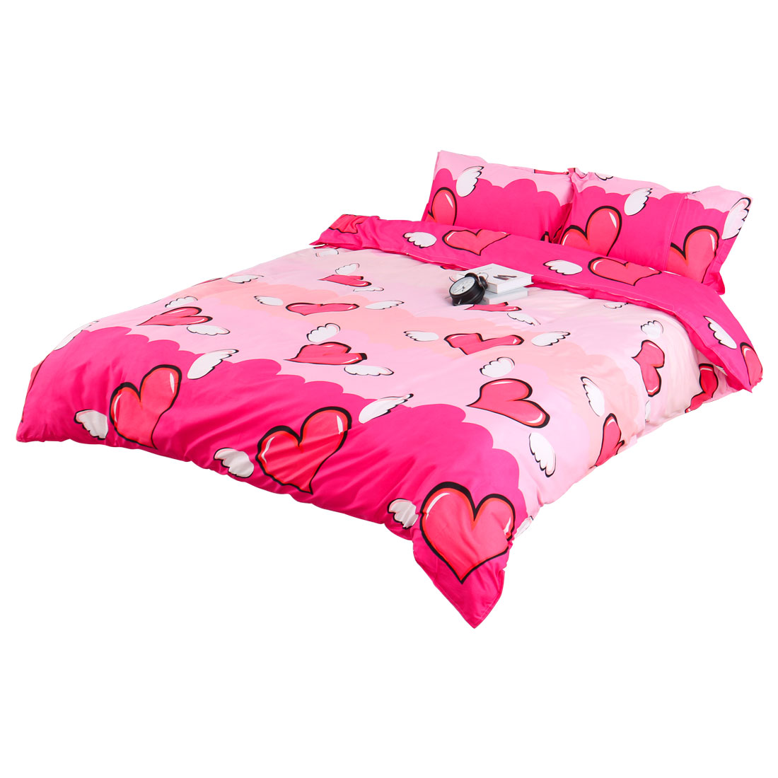 Angel Hearts Pattern Duvet Quilt Cover Pillowcase Bedding Set Super King Size