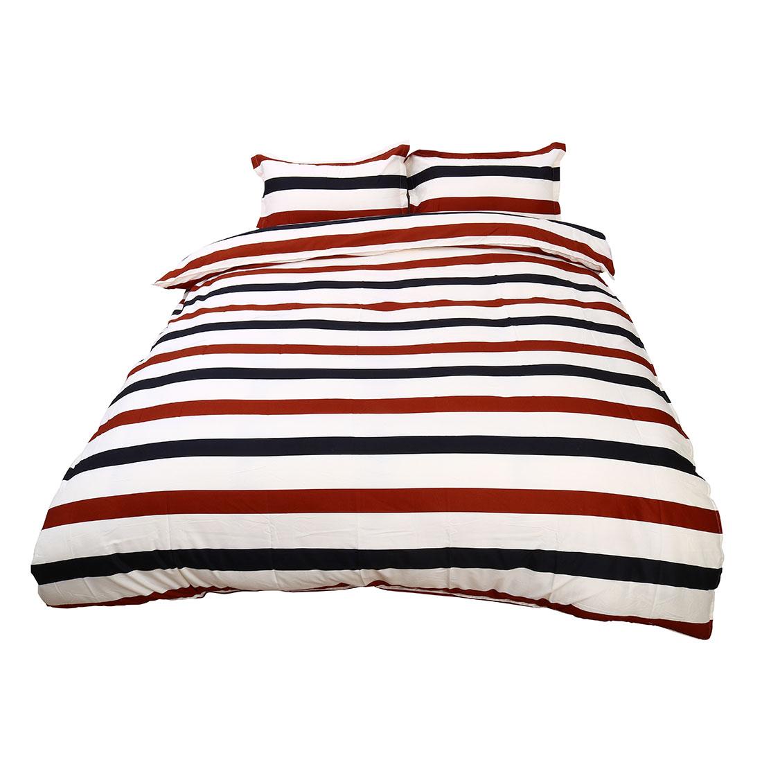 Bedroom Stripe Pattern Duvet Quilt Cover Pillowcase Bedding Set Double Size