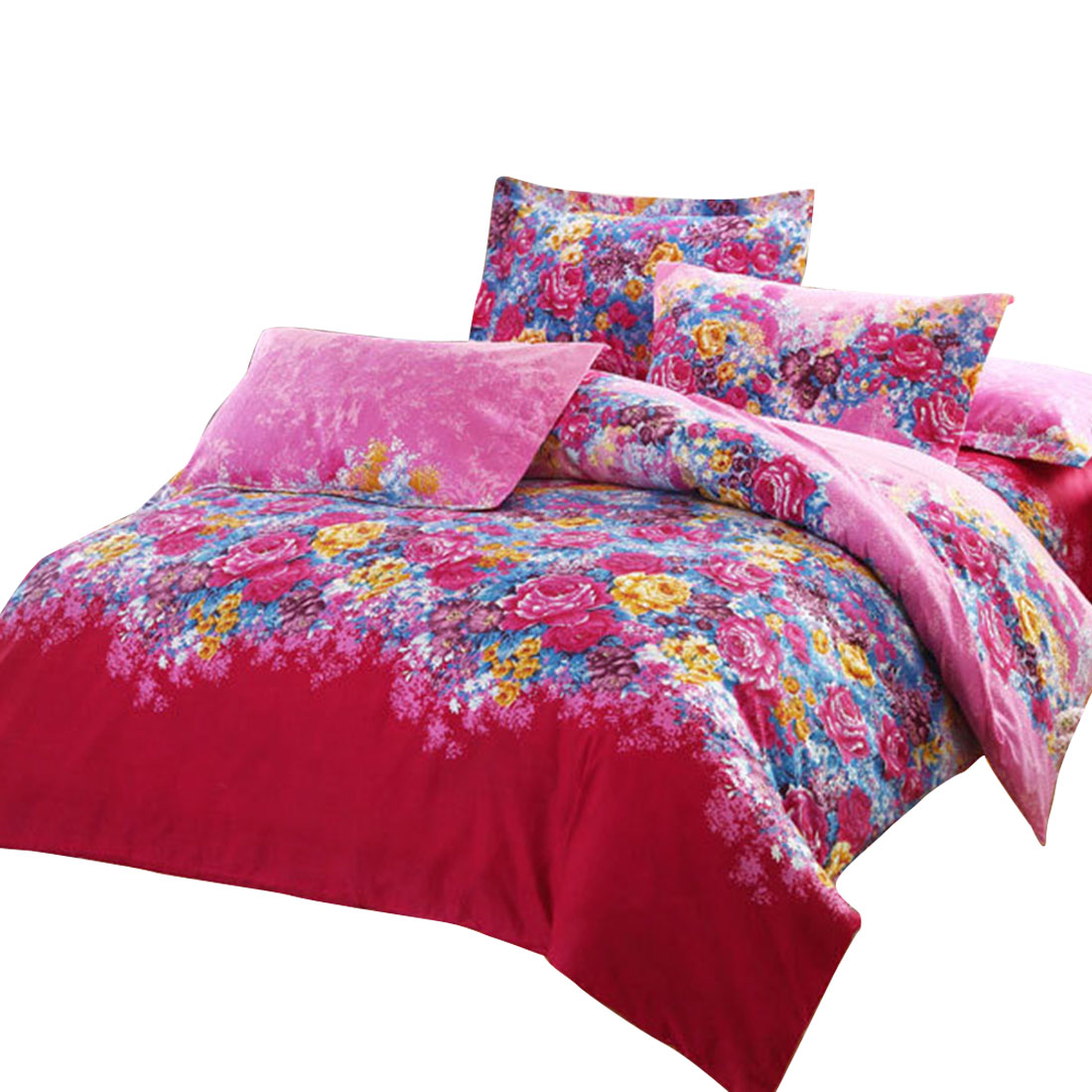 Bedroom Florals Pattern Duvet Quilt Cover Pillowcase Bedding Set Queen Size