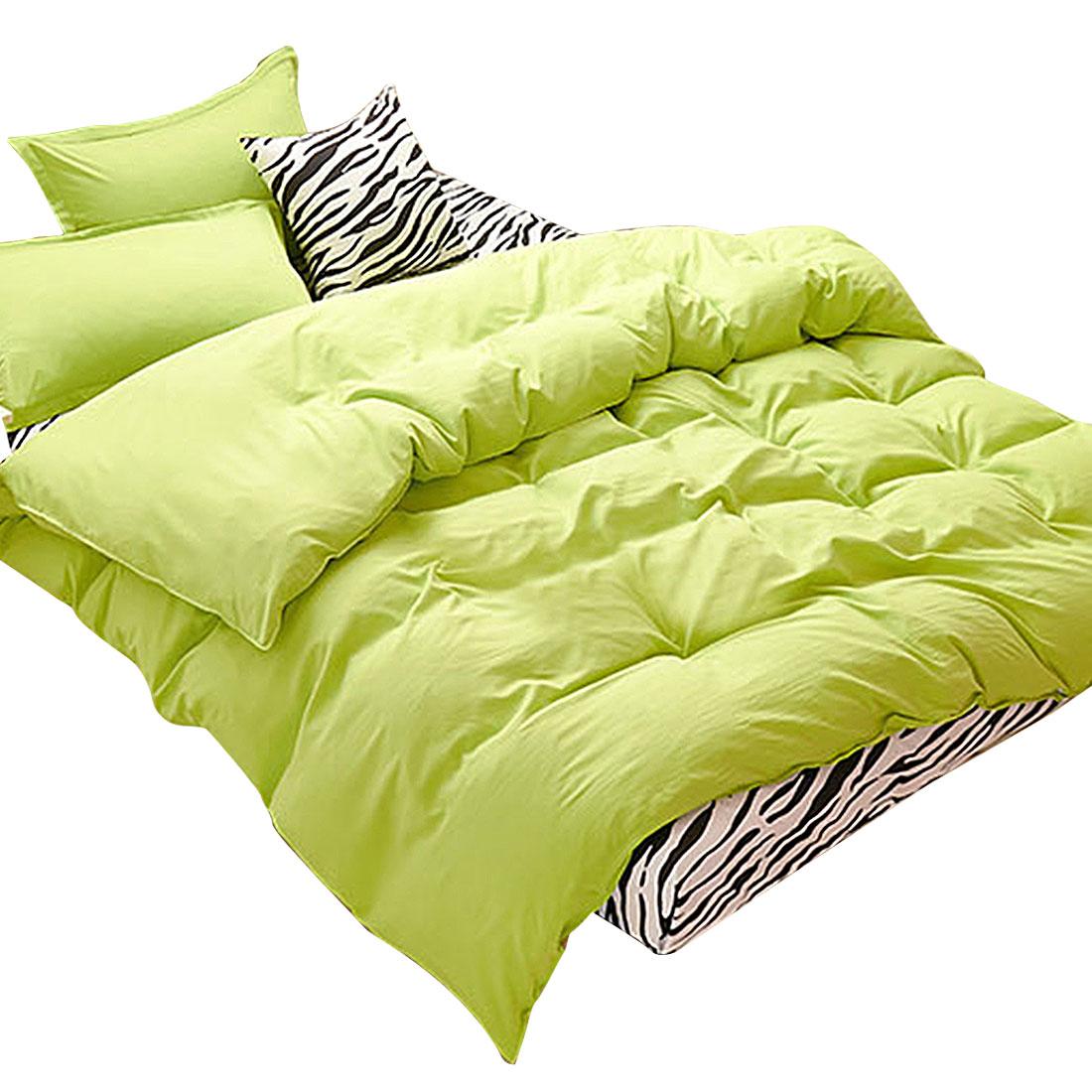 Bedroom Duvet Quilt Cover Pillowcase Bedding Set Bedclothes Green Double Size