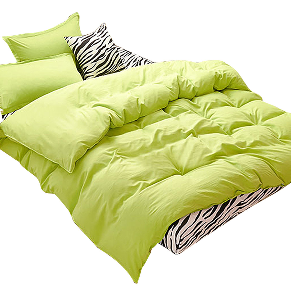 Bedroom Duvet Quilt Cover Pillowcase Bedding Set Bedclothes Green Super King Size