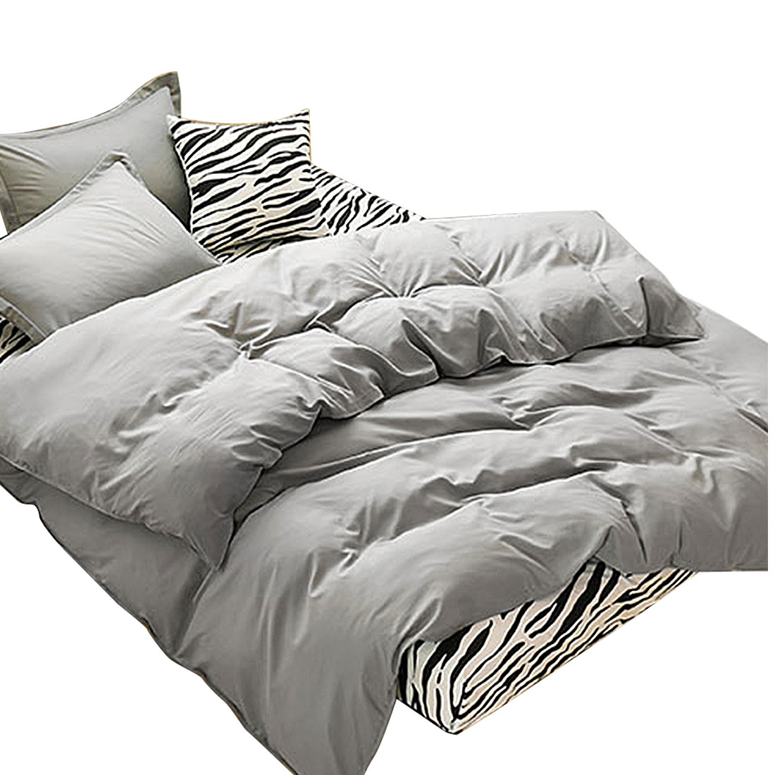 Bedroom Duvet Quilt Cover Pillowcase Bedding Set Bedclothes Gray Queen Size