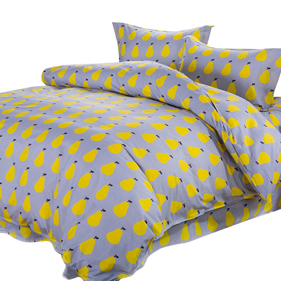 Bedroom Pear Pattern Duvet Quilt Cover Pillowcase Bedding Set Queen Size