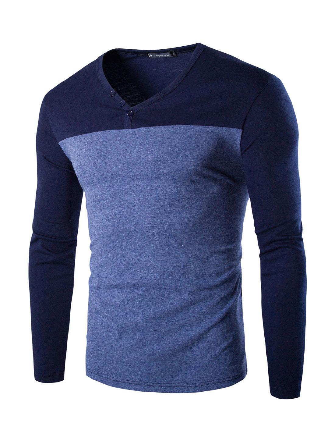 Men V-Neck Color Block Buttons Upper Long Sleeves T-shirt Blue L