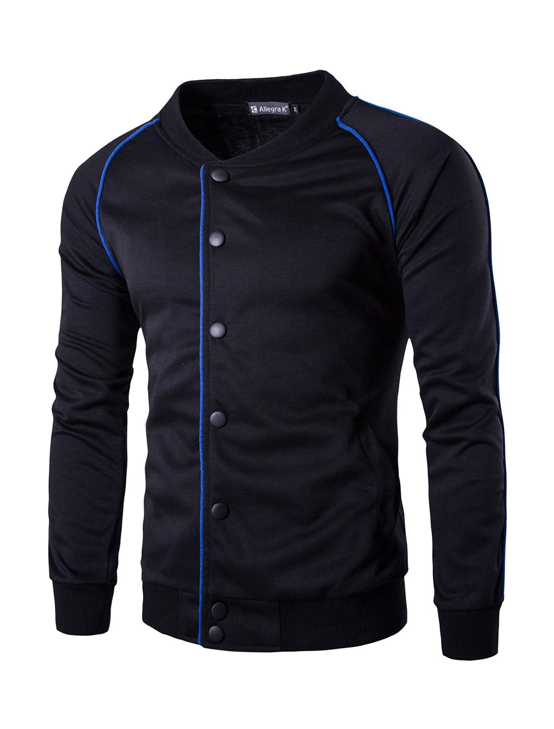 Men Snap Button Fastener Raglan Sleeves Piped Jacket Black S