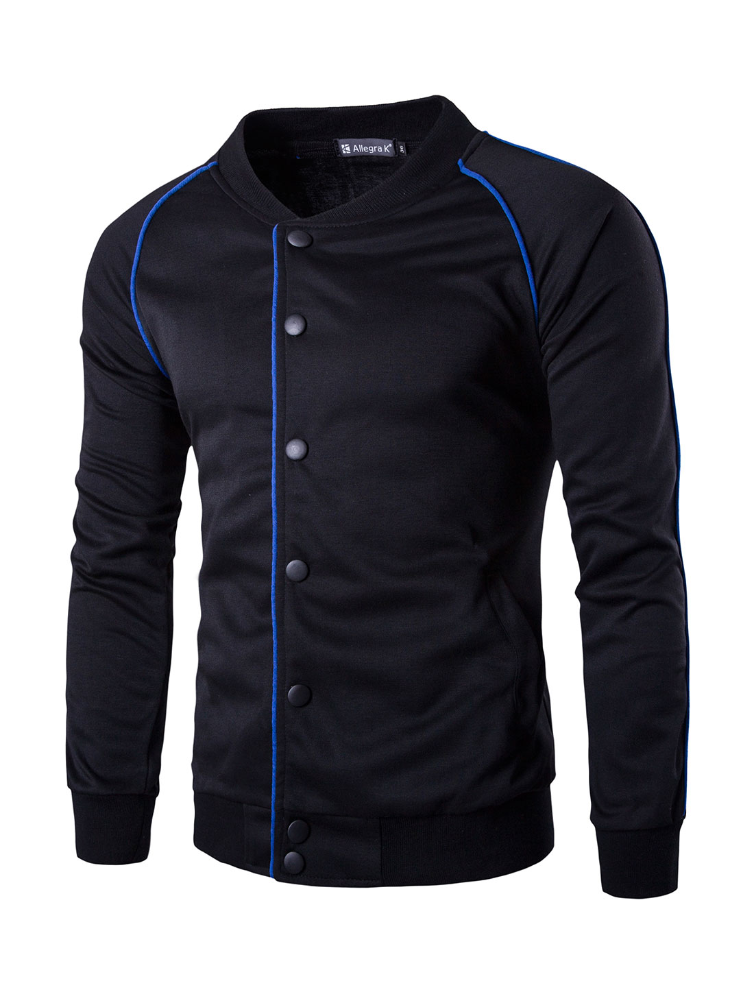 Men Snap Button Fastener Raglan Sleeves Piped Jacket Black M