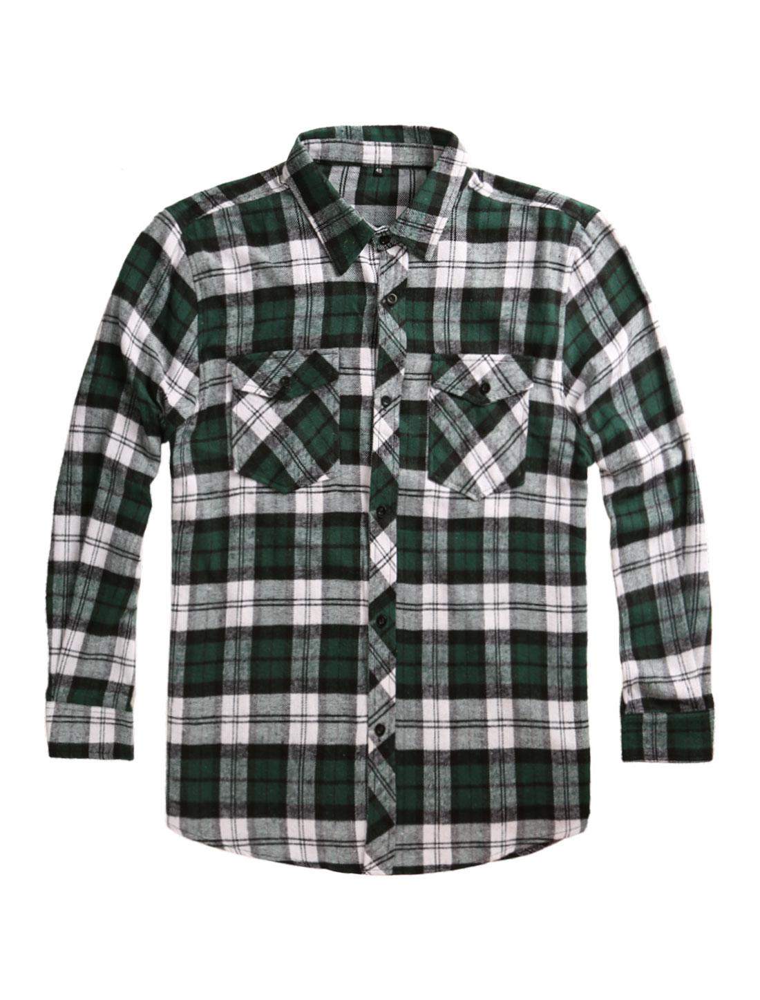 Men Big and Tall Long Sleeves Plaid Flannel Shirt Green XXL