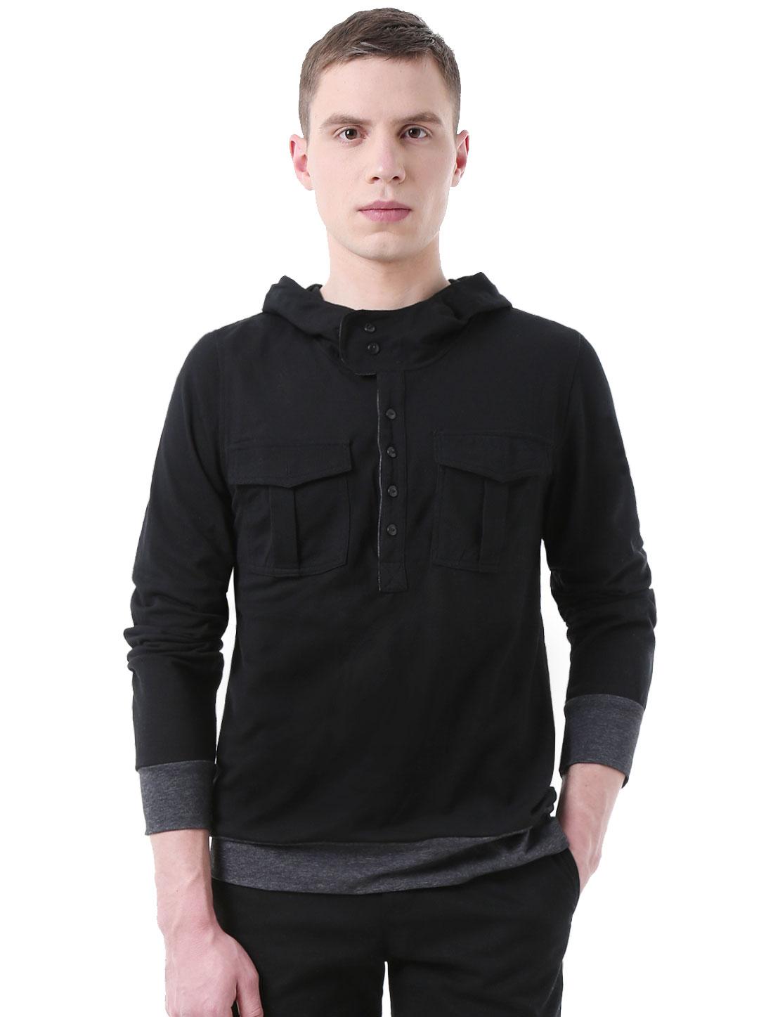 Men Long Sleeves Half Placket Slim Fit Hoodie Shirt Black L