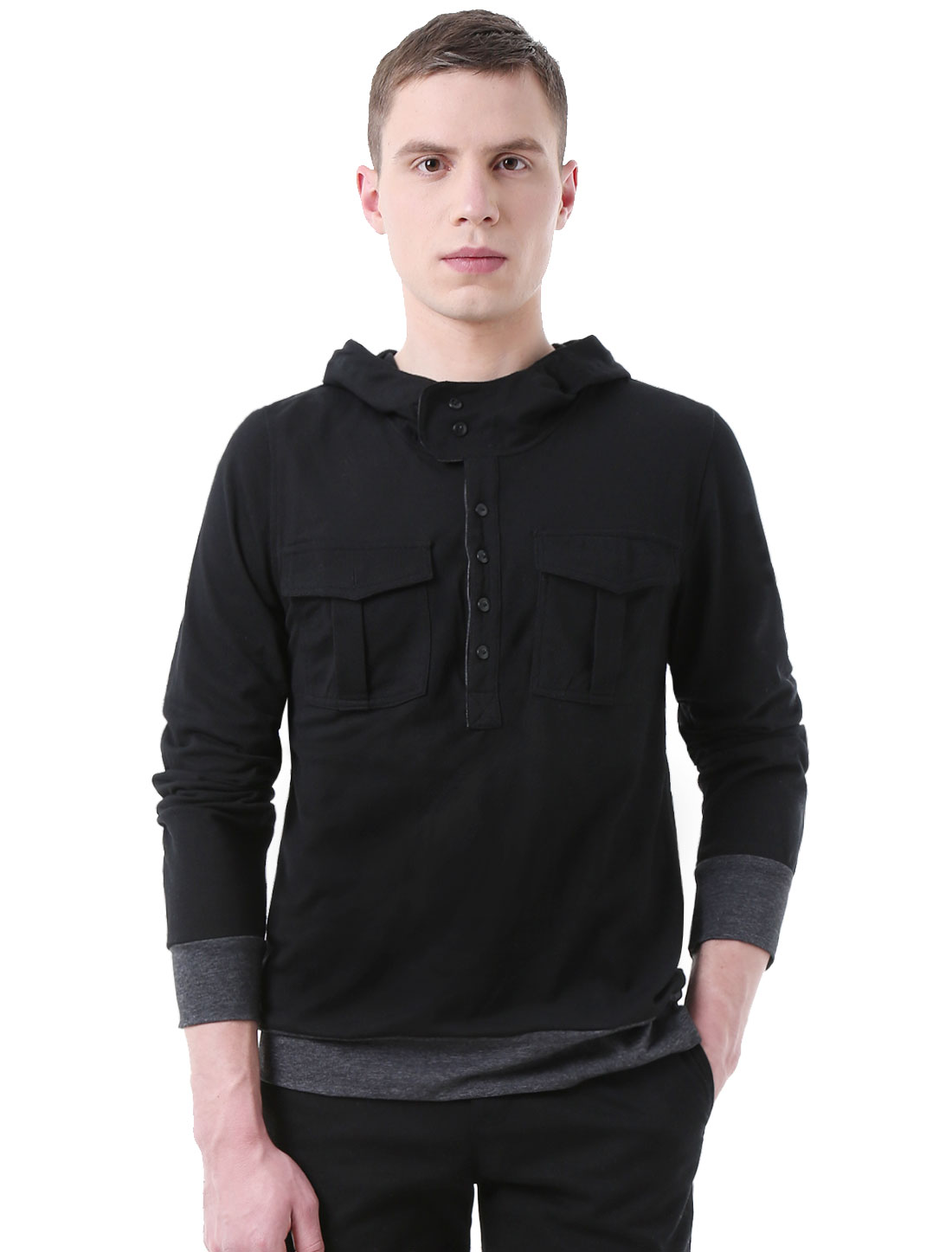 Men Patch Sleeves Placket Front Slim Fit Hooded Shirt Black L