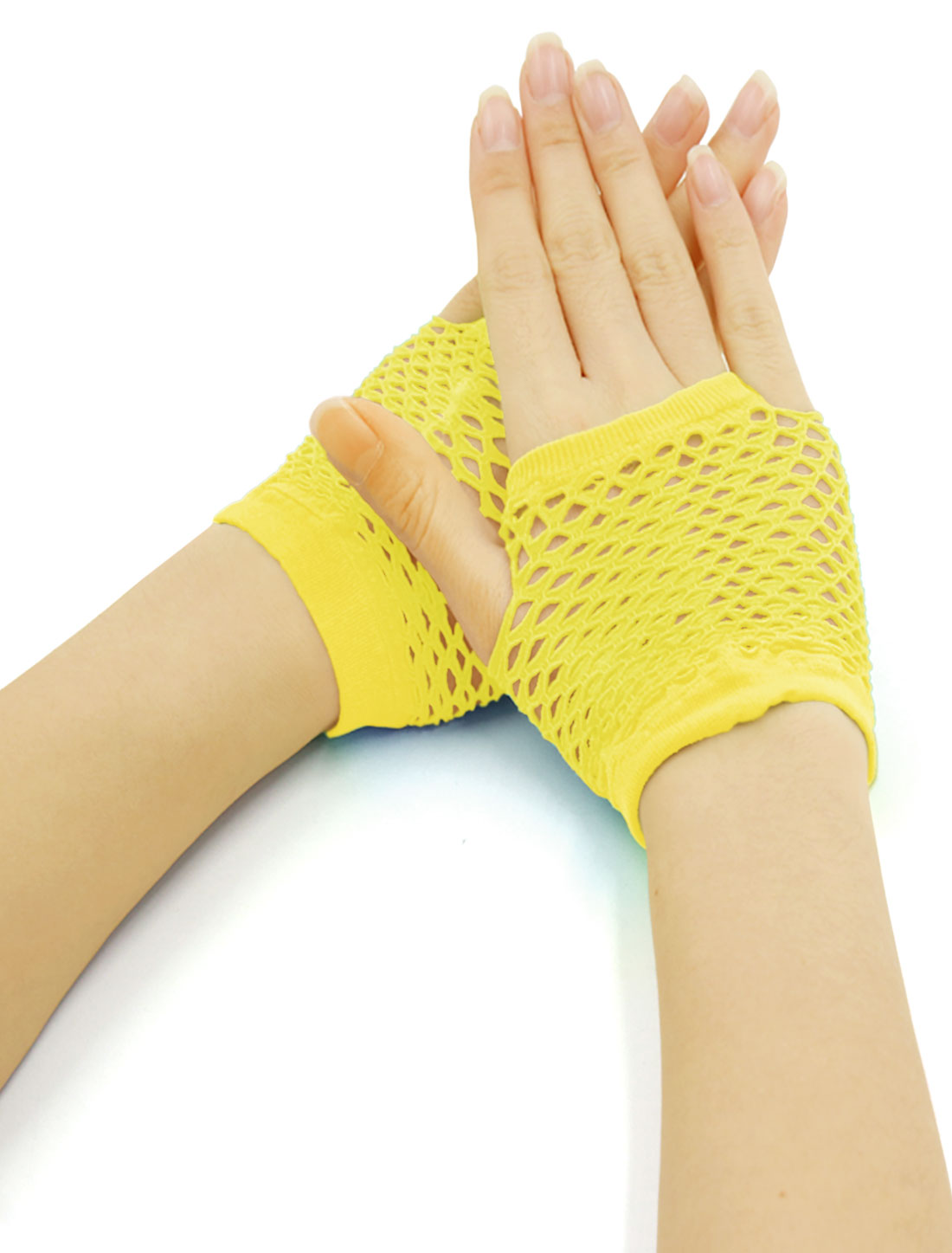 Women Wrist Length Stretchy Fingerless Fishnet Gloves 2 Pairs Yellow