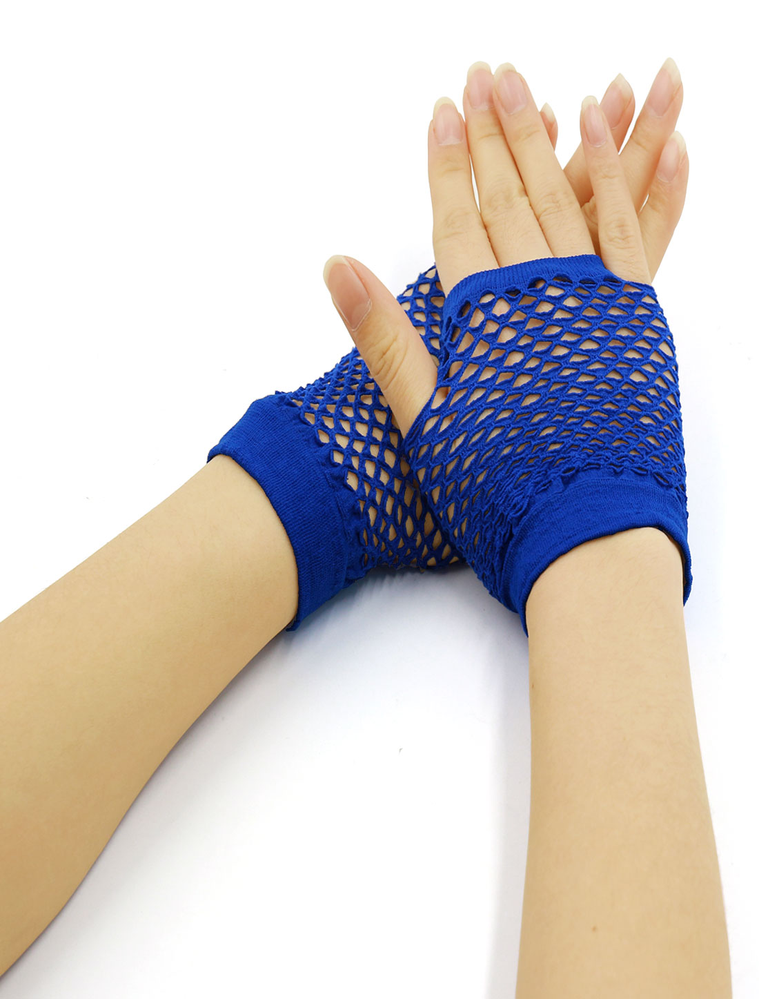 Women Wrist Length Stretchy Fingerless Fishnet Gloves 2 Pairs Royal Blue