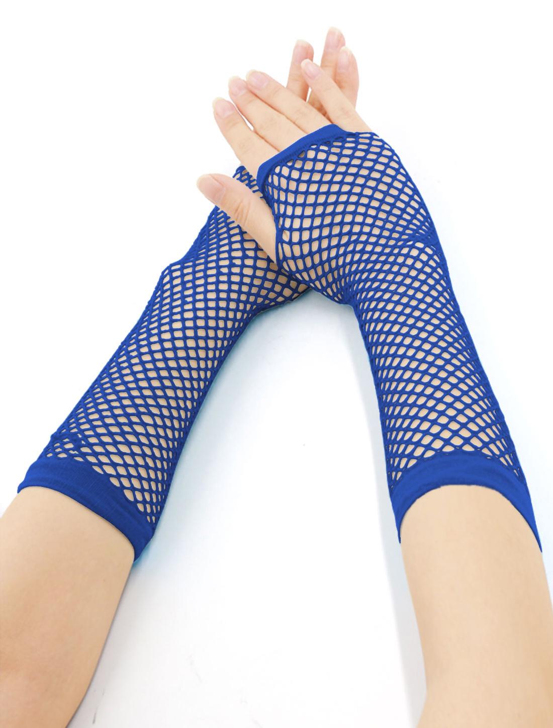 Women Elbow Length Fingerless Fishnet Gloves 2 Pairs Royal Blue
