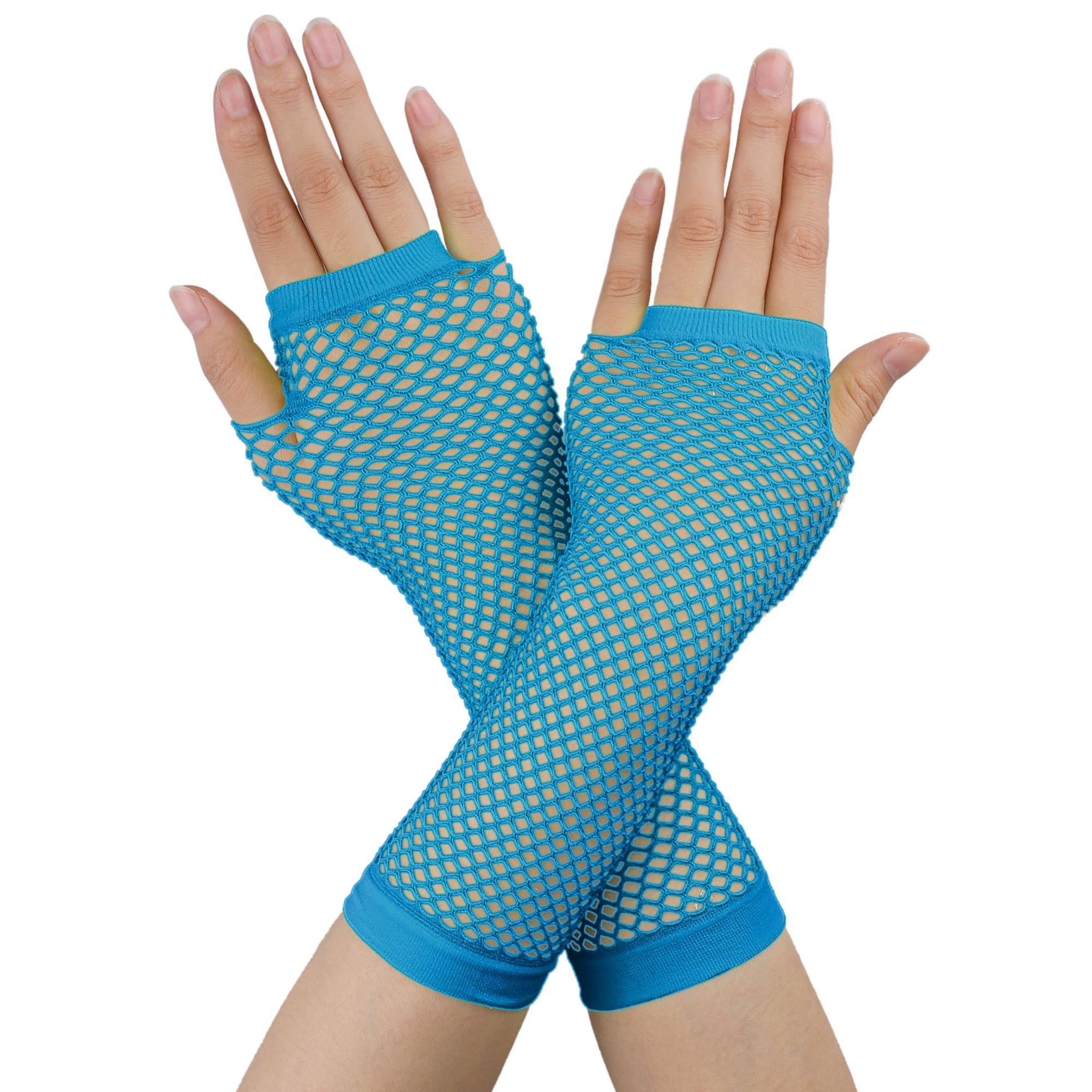 Women Elbow Length Fingerless Fishnet Gloves 2 Pairs Turquoise