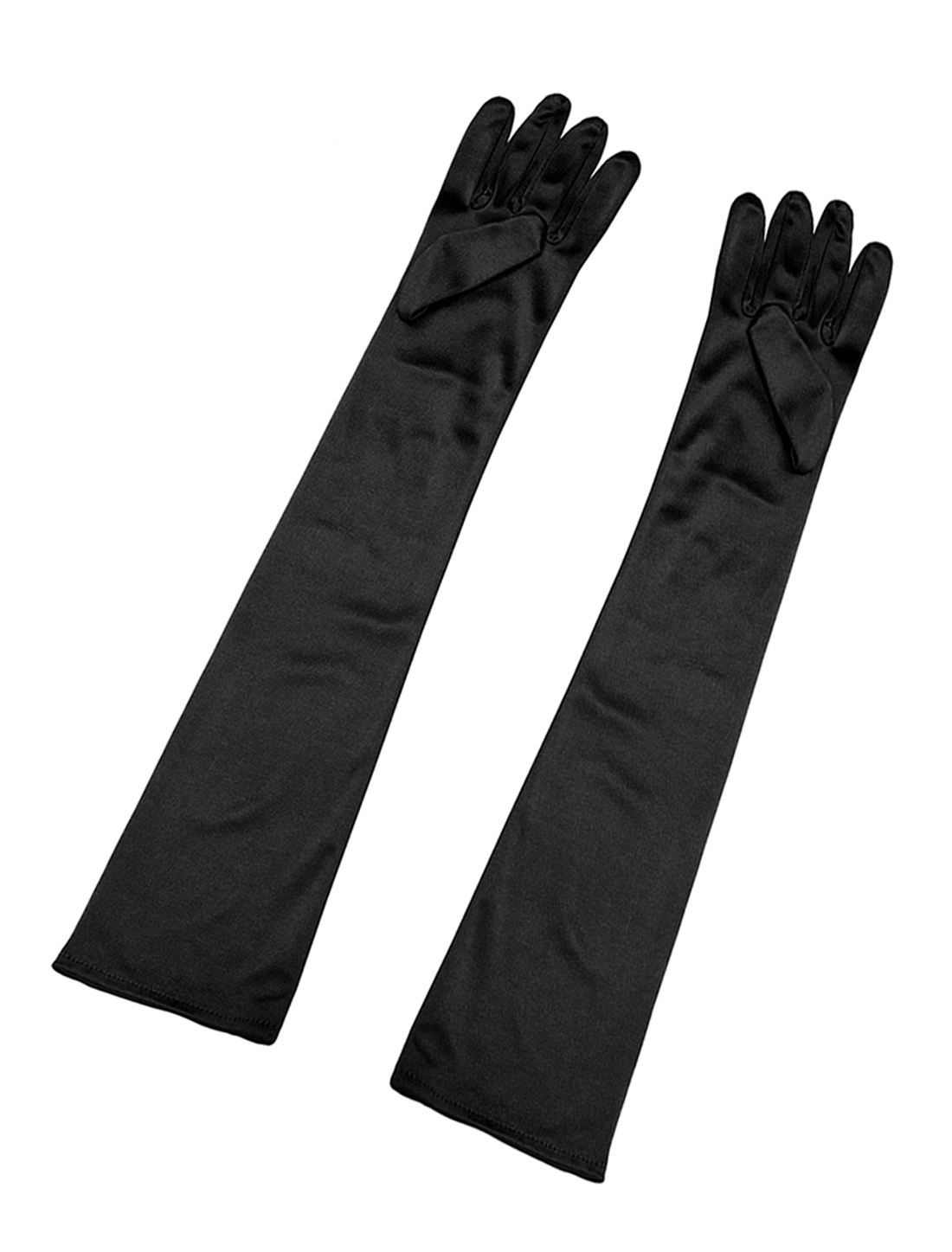Women Shiny Stretchy Opera Length Full Finger Gloves Pair Black