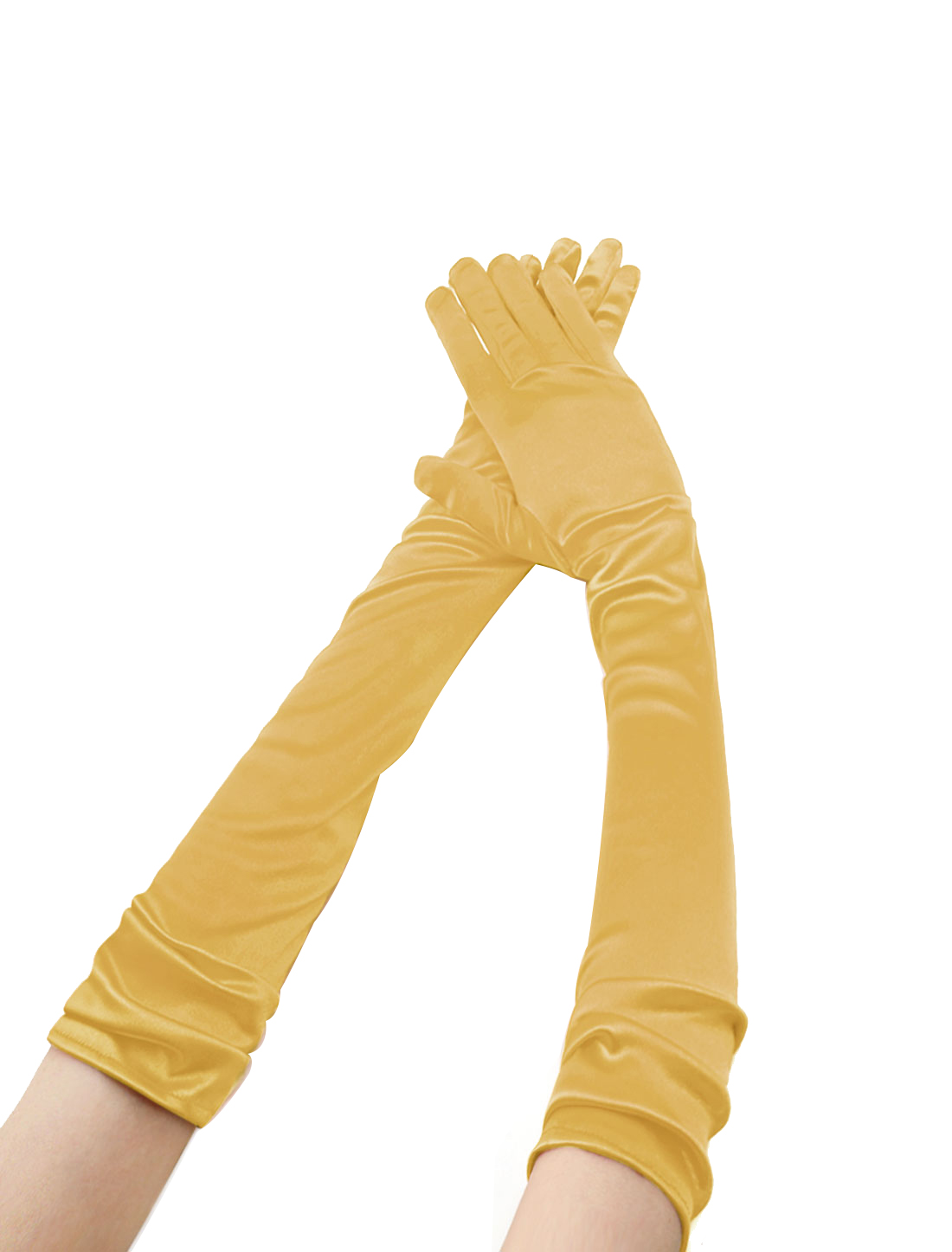 Women Shiny Stretchy Opera Length Full Finger Gloves Pair Gold