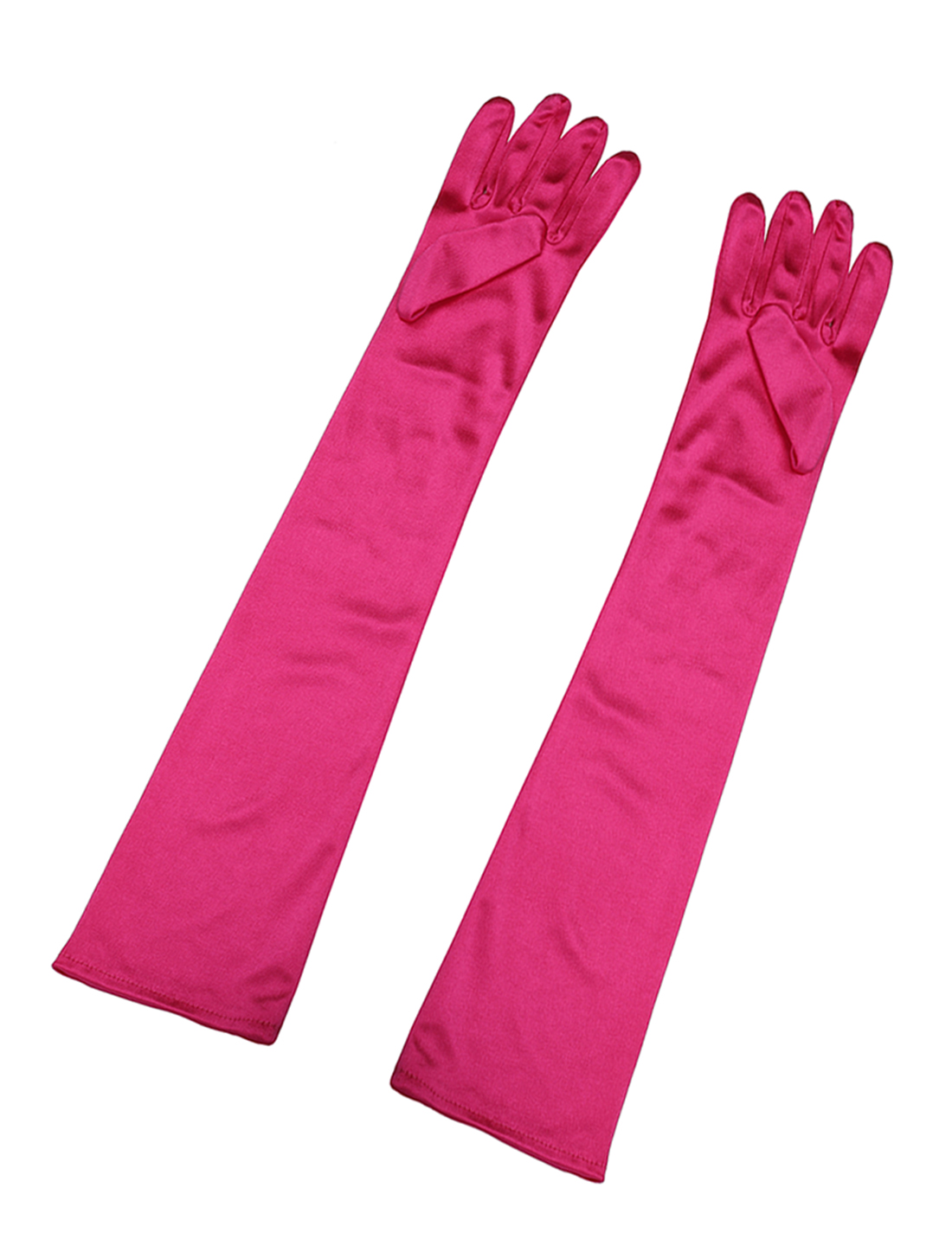 Women Shiny Stretchy Opera Length Full Finger Gloves Pair Fuchsia