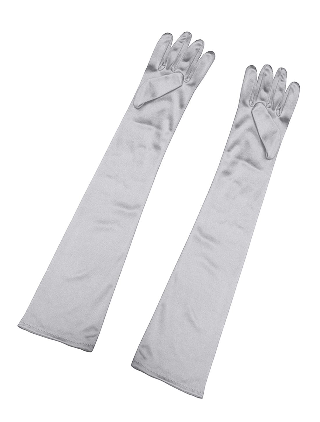 Women Shiny Stretchy Opera Length Full Finger Gloves Pair Silver