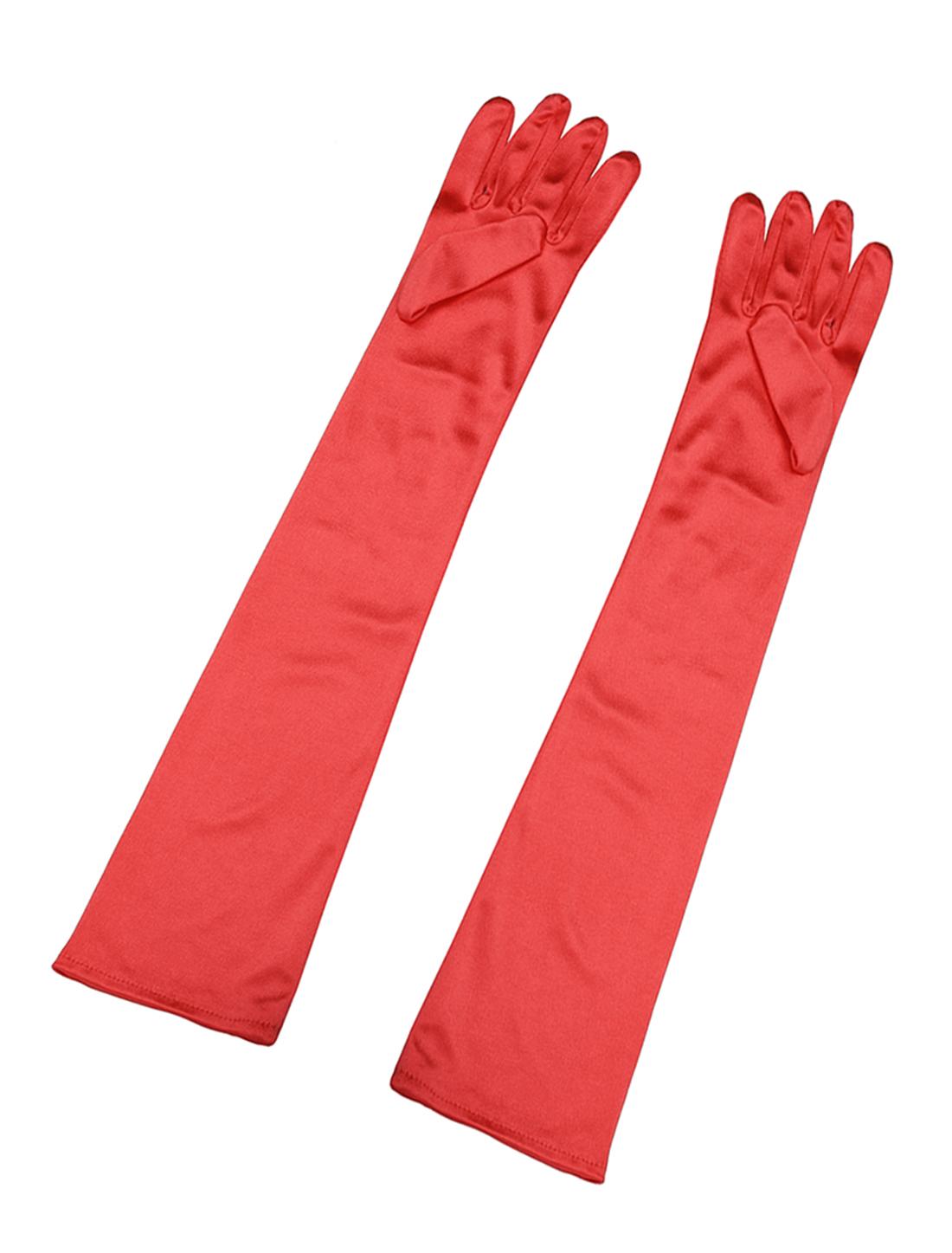 Women Shiny Stretchy Opera Length Full Finger Gloves Pair Red
