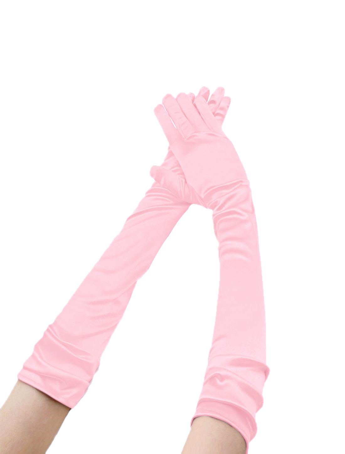 Women Shiny Stretchy Opera Length Full Finger Gloves Pair Pink