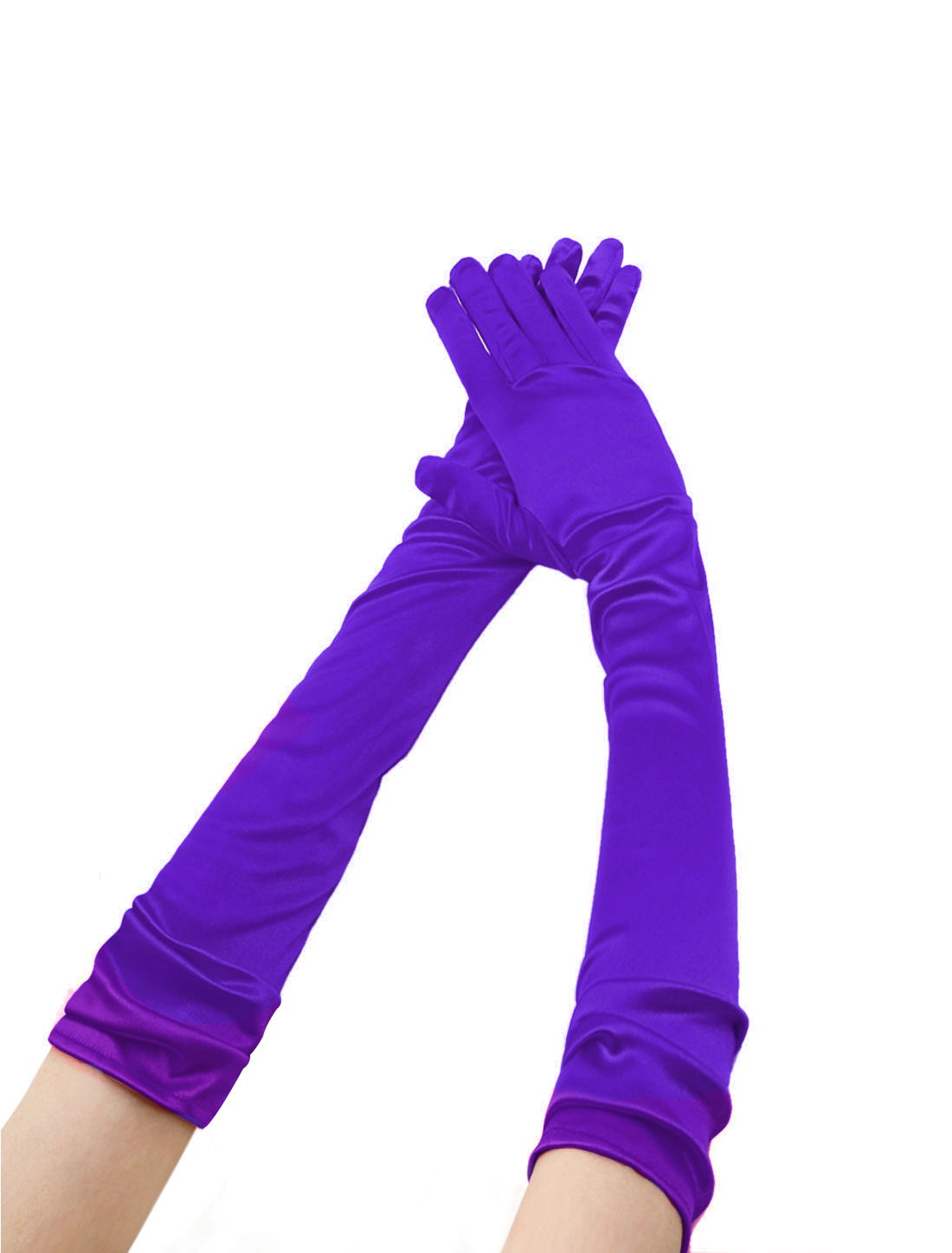 Women Shiny Stretchy Opera Length Full Finger Gloves Pair Purple