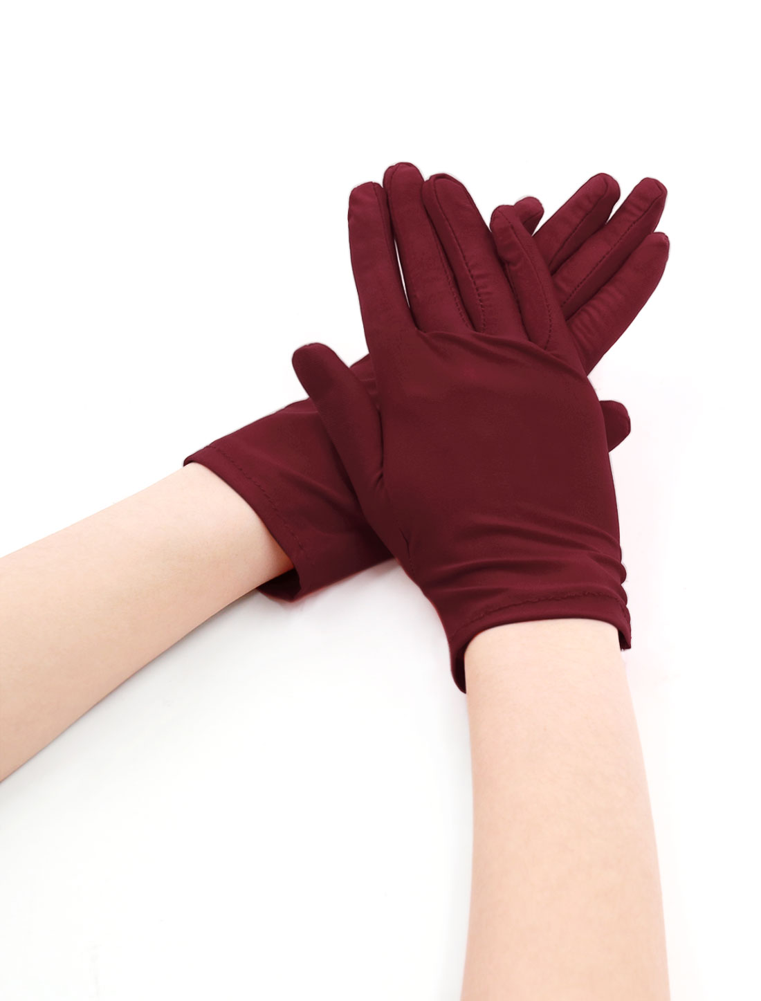Women Wrist Length Matte Full Finger Stretchy Gloves 5 Pairs Purple Red