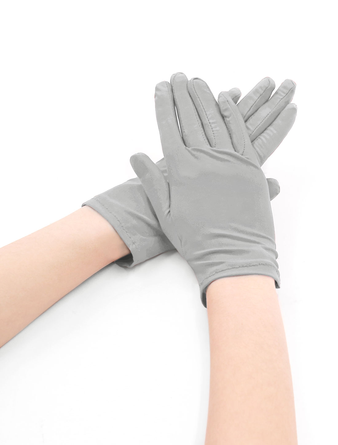 Women Wrist Length Matte Full Finger Stretchy Gloves 5 Pairs Light Gray
