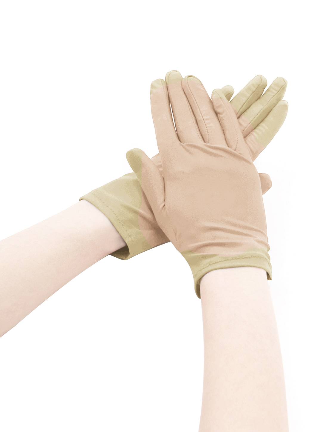 Women Wrist Length Matte Full Finger Stretchy Gloves 5 Pairs Beige