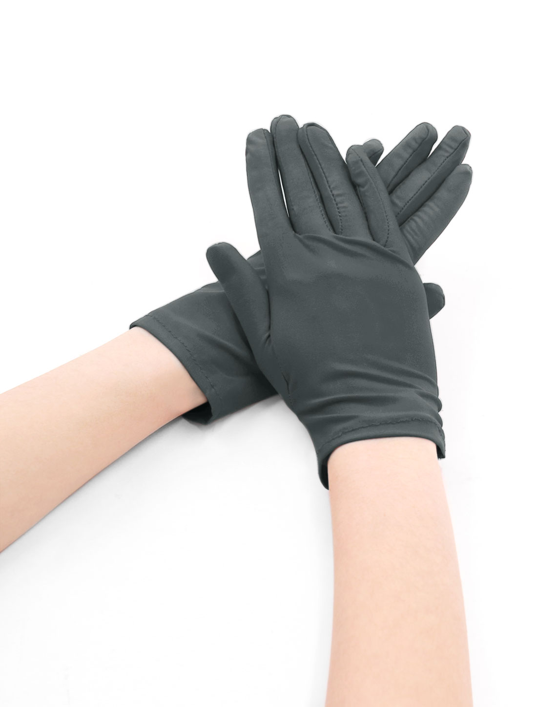 Women Wrist Length Matte Full Finger Stretchy Gloves 5 Pairs Dark Gray