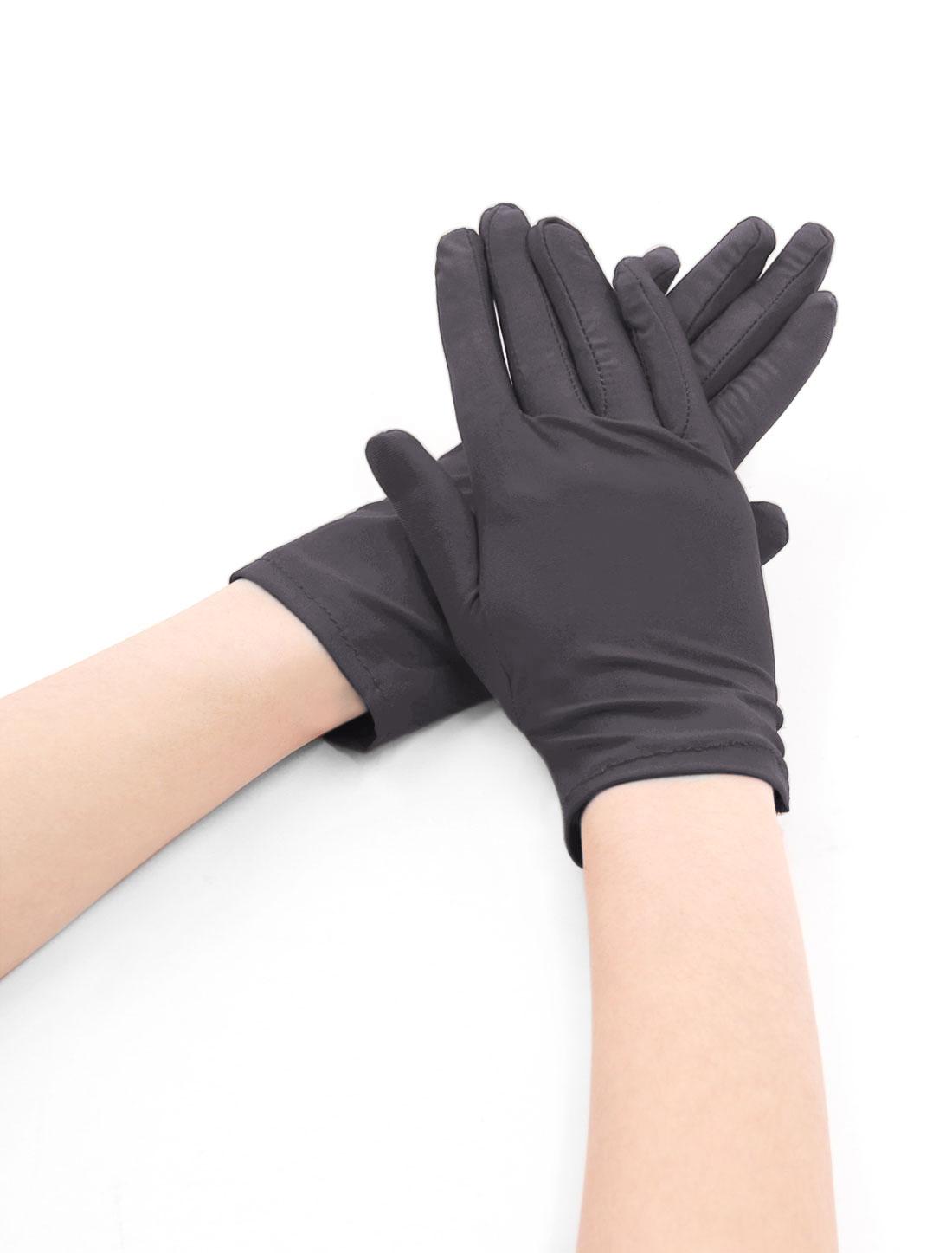 Women Wrist Length Matte Full Finger Stretchy Gloves 5 Pairs Brown