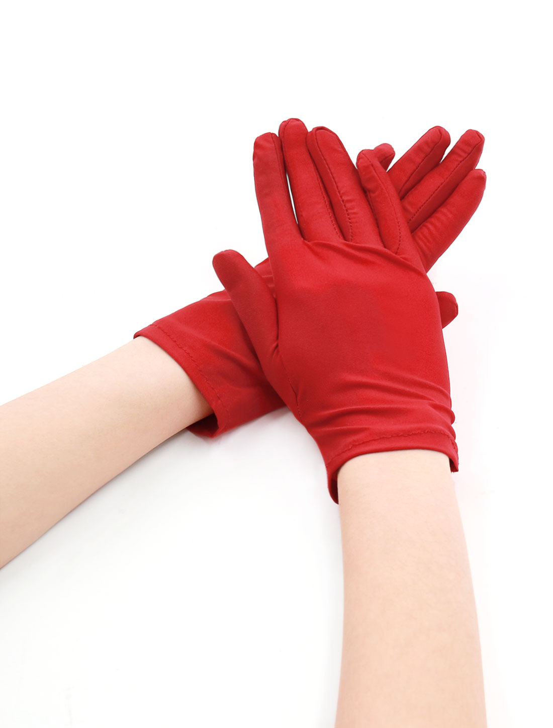 Women Wrist Length Matte Full Finger Stretchy Gloves 5 Pairs Red