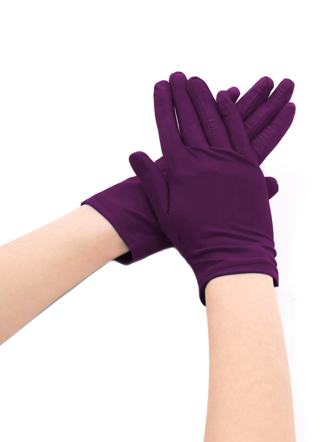 Women Wrist Length Matte Full Finger Gloves 5 Pairs Purple